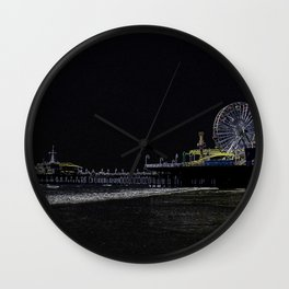 Pitch Black Neon Santa Monica Pier Wall Clock