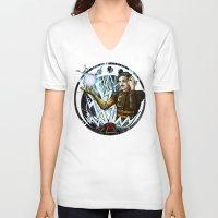 tesla V-neck T-shirts featuring Tesla by stephane Dietkiewicz
