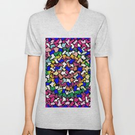 Wobbly Vibrant Tiles Unisex V-Neck