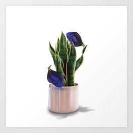 Blue Tang & Snake Plant Art Print