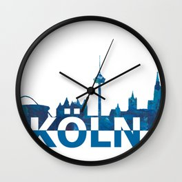 Koeln Skyline Silhouette Strong with Text Wall Clock