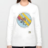 aviation Long Sleeve T-shirts featuring Wilbur and Orville Wright, 1903 by Magnetic Boys