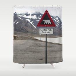 Polar bears traffic sign in Svalbard Shower Curtain