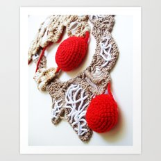 Red Cream Romanian Point Lace Photography  Art Print