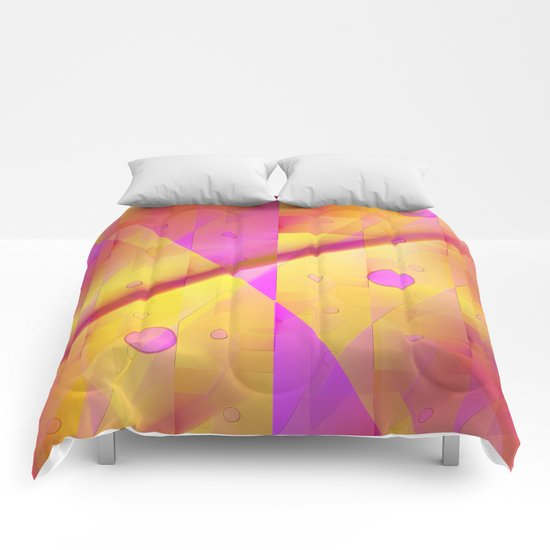 Geometric pattern pink and orange  Comforters