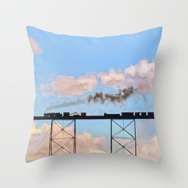 Choo Choo in the Clouds Throw Pillow