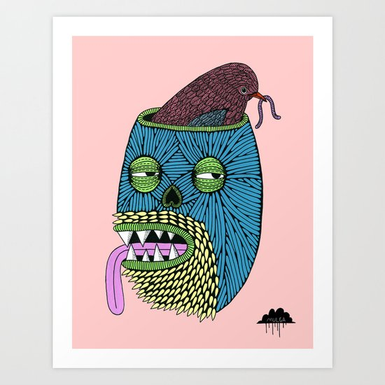 Bird Brain Bill the Zombie Art Print