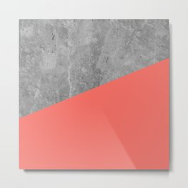 Living Coral on Concrete Geometrical Metal Print