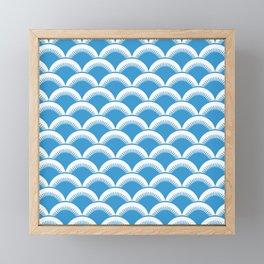 Japanese Fan Pattern 137 Cyan Blue Framed Mini Art Print