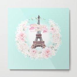 Eiffel Tower Bonjour Paris wreath Metal Print