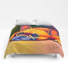 Colorful French Bulldog Rainbow Dog Pet Portrait Comforters