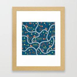 Fireman cute seamless kids pattern navy blue Framed Art Print