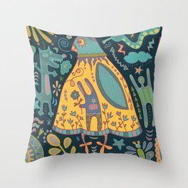 Chatty Yellow Bird Throw Pillow