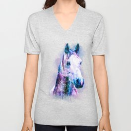 Horse Watercolor, Horse Print, Watercolor Print, Watercolor Animal, Horse Painting, Horse Gift Print Unisex V-Neck