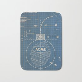 Acme Spherical Bomb vintage Blueprint Bath Mat