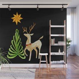 Deer near a tree, gazing at a star Wall Mural