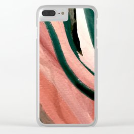 Spring in the City - a pretty mimimal watercolor abstract piece in pinks and greens Clear iPhone Case