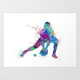 Baseball Softball Catcher Colorful Watercolor Sports Art Gift Art Print