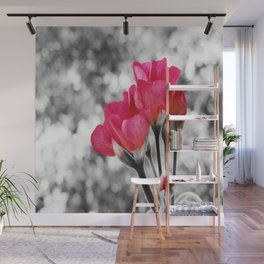 Pink FLOwERS Pop of Color Wall Mural