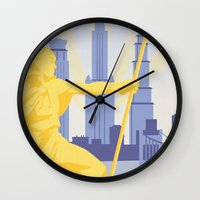 travel poster Wall Clocks featuring Republic City Travel Poster by HenryConradTaylor