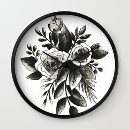 Black Floral Watercolor Bouquet Wall Clock