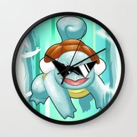 squirtle Wall Clocks featuring Squirtle Squad by Patrick Towers