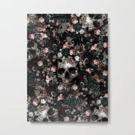 Skull and Floral pattern Metal Print