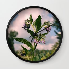 Healing Comfrey Plant with Flowers Wall Clock