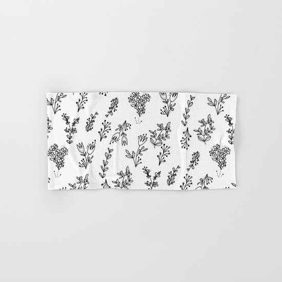 Floral White Pattern Hand & Bath Towel