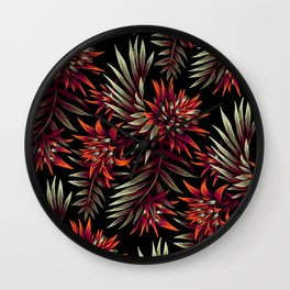 Aechmea Fasciata - Dark Orange / Purple Wall Clock