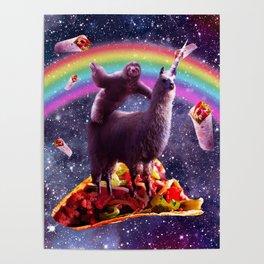 Space Sloth Riding Llama Unicorn - Taco & Burrito Poster