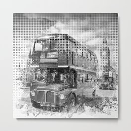 Graphic Art LONDON WESTMINSTER Buses | Monochrome Metal Print