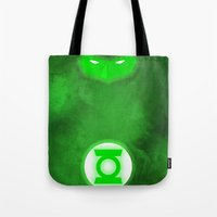 green lantern Tote Bags featuring Green Lantern by theLinC