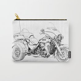 Motorcycle art, black and white portrait Carry-All Pouch
