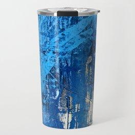 Vortex [2]: a vibrant abstract mixed-media piece in blue and gold by Alyssa Hamilton Art Travel Mug