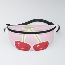 Kawaii red cherry on pink background Fanny Pack