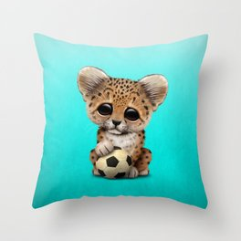 Leopard Cub With Football Soccer Ball Throw Pillow