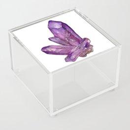 Amethyst Birthstone Watercolor Illustration Acrylic Box
