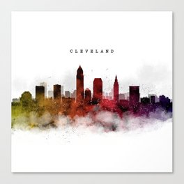 Cleveland Watercolor Skyline Canvas Print