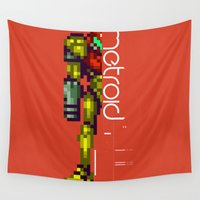 metroid Wall Tapestries featuring Metroid by Slippytee Clothing