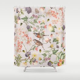 Violet and Rusty Pink Blooms Shower Curtain
