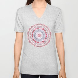 Red & Leisure Blue Mandala Unisex V-Neck