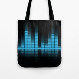 Cool Blue Graphic Equalizer Music on black Tote Bag