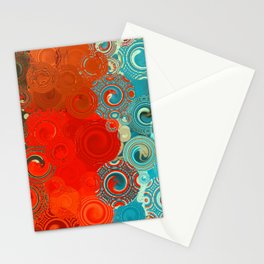 Turquoise and Red Swirls Stationery Cards