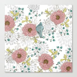 Blue Bird and Peonies Canvas Print