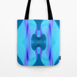 Lotus Aqua Blue Abstract Floral Tote Bag