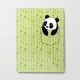 Pocket Bamboo Panda Metal Print