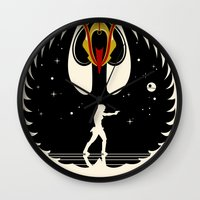 swan queen Wall Clocks featuring Queen Swan by zerobriant