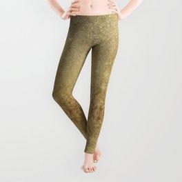 Girly Glamorous Gold Foil and Glitter Mesh Leggings