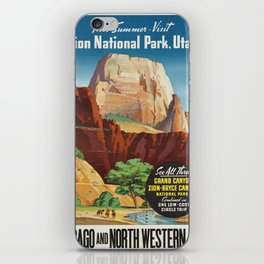 Vintage poster - Zion National Park iPhone Skin